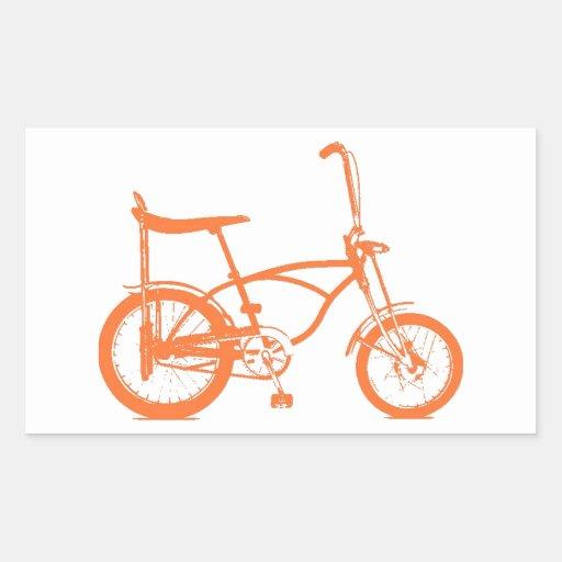 Bici anaranjada retra de Seat del plátano de Krate Pegatina Rectangular