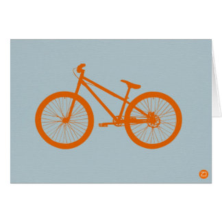 Bici anaranjada tarjeta de felicitación