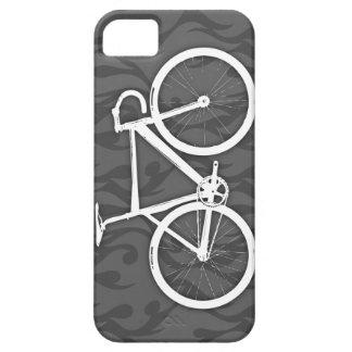 Bici ardiente de la pista - blanco en gris iPhone 5 fundas