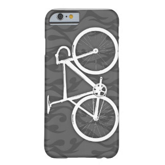 Bici ardiente de la pista - blanco en gris funda barely there iPhone 6