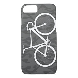 Bici ardiente de la pista - blanco en gris funda iPhone 7