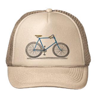 Bici azul de la bicicleta del vintage gorra