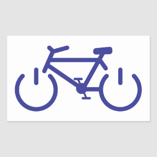 Bici azul del poder pegatina rectangular