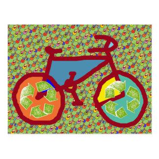 bici, bicicleta; el biking/que completa un ciclo tarjeta postal