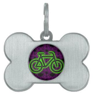 Bici, bicicleta, neón, verde, rosa, púrpura placas de nombre de mascota