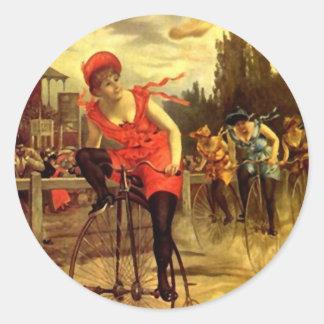 Bici Biking de moda del vintage del pegatina que c