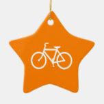 Bici blanca y anaranjada adornos