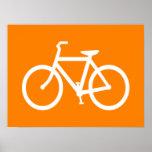 Bici blanca y anaranjada impresiones