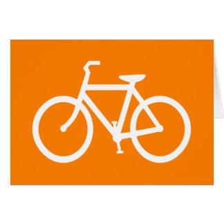 Bici blanca y anaranjada tarjeta de felicitación