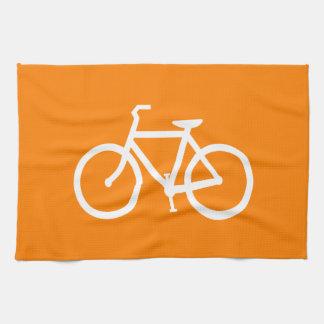 Bici blanca y anaranjada toallas de mano