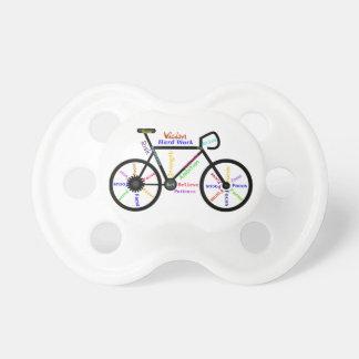 Bici, ciclo con deporte de motivación de las palab chupetes de bebe