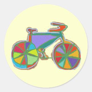 bici colorida hermosa del arte pegatina redonda