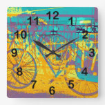 bici colorida urbana relojes de pared