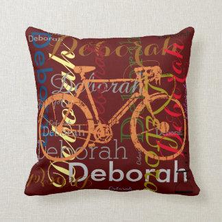 bici con el nombre modelado personalizado cojin