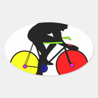 Bici de ciclo coloreada multi pegatina ovalada