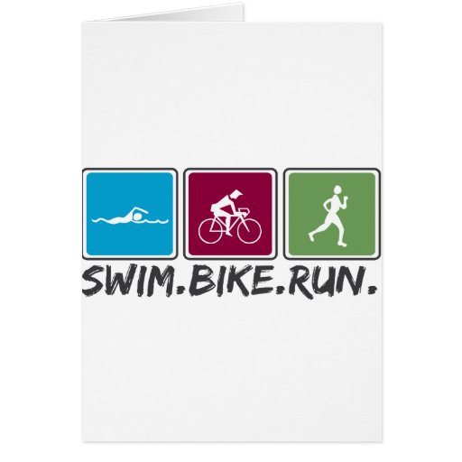 bici de la nadada funcionada con (triathlon) tarjeta de felicitación