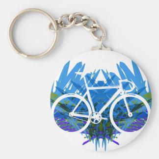 Bici de la pista en azul/verde llavero redondo tipo pin