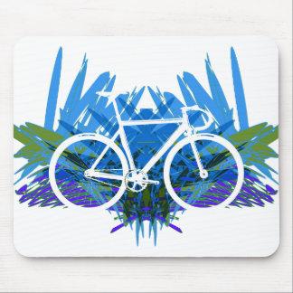 Bici de la pista en azul/verde tapetes de ratones