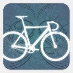 Bici de la pista - estilo azul del tatuaje calcomanía cuadrada