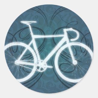 Bici de la pista - estilo azul del tatuaje etiqueta