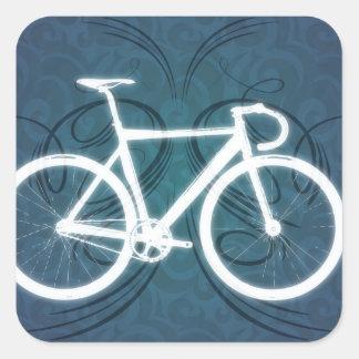 Bici de la pista - estilo azul del tatuaje pegatina cuadrada