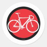 Bici de la pista - punto rojo etiquetas redondas