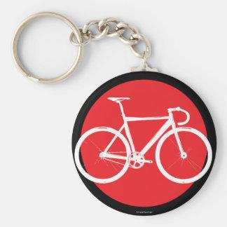 Bici de la pista - punto rojo llavero redondo tipo pin