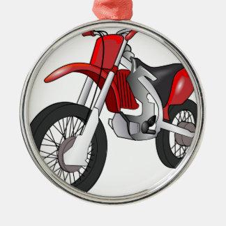 Bici de la suciedad adorno navideño redondo de metal