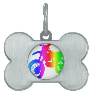 Bici de la suciedad del arco iris placa mascota