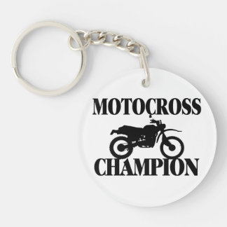 Bici de la suciedad del campeón del motocrós llavero redondo acrílico a doble cara
