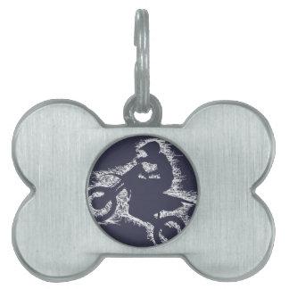 BICI de la SUCIEDAD (garabato blanco) Placa De Nombre De Mascota