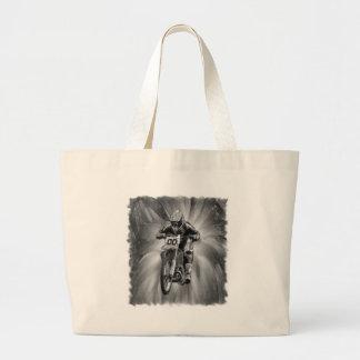 Bici de la suciedad que arruina con negro/blanco bolsa tela grande
