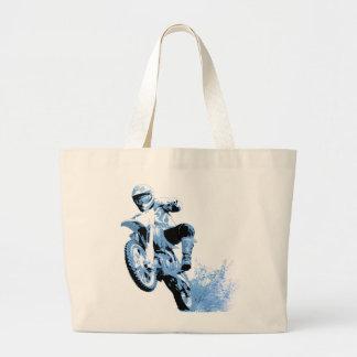 Bici de la suciedad que rueda en el fango (azul) bolsa tela grande