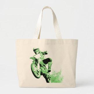 Bici de la suciedad que rueda en el fango (verde) bolsa tela grande