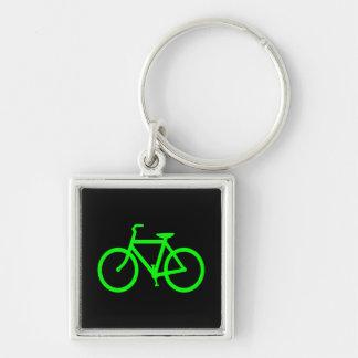 Bici de la verde lima llavero cuadrado plateado