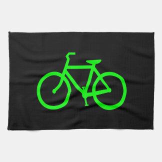 Bici de la verde lima toallas de mano