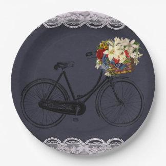 Bici de marfil   azul de la bicicleta del Merlot Platos De Papel