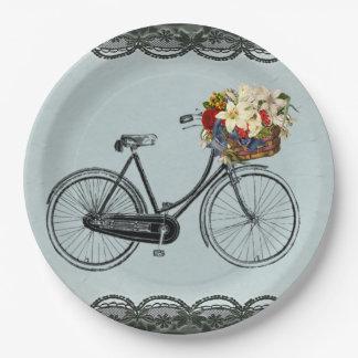 Bici de marfil de la bicicleta de la verde menta platos de papel