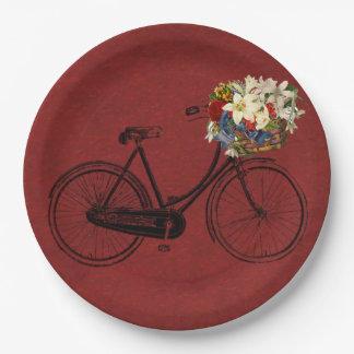 Bici de marfil   roja de la bicicleta del Merlot Platos De Papel