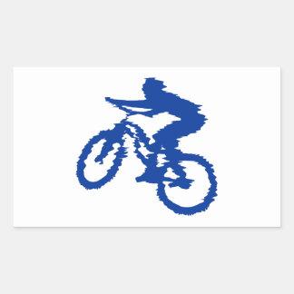 Bici de montaña azul rectangular pegatina