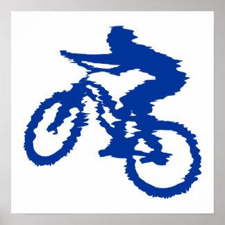 Bici de montaña azul póster
