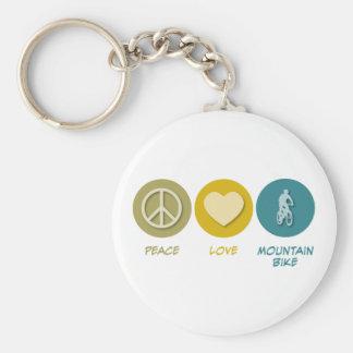 Bici de montaña del amor de la paz llavero redondo tipo pin