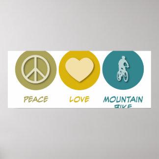 Bici de montaña del amor de la paz póster