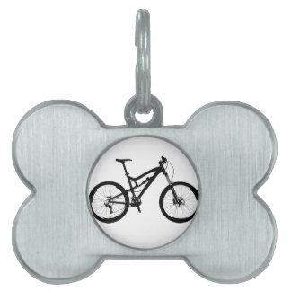 Bici de montaña - negro en blanco placa de nombre de mascota