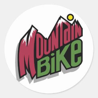 Bici de montaña pegatina redonda