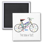 Bici de motivación, bicicleta, completando un cicl iman de nevera