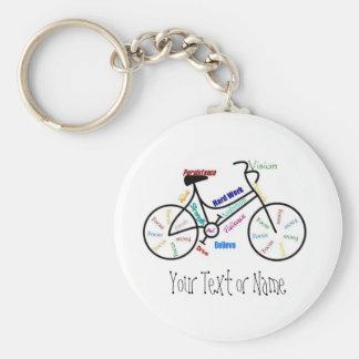Bici de motivación, bicicleta, completando un cicl llavero redondo tipo pin