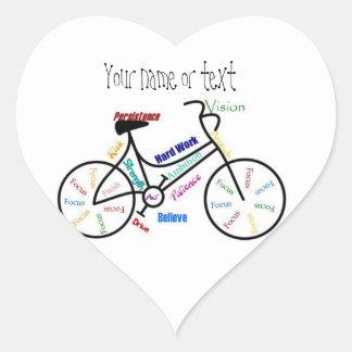 Bici de motivación bicicleta completando un cicl pegatinas de corazon personalizadas