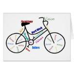 Bici de motivación, bicicleta, completando un cicl tarjeton