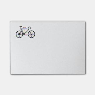 Bici de motivación, bicicleta, completando un cicl post-it notas
